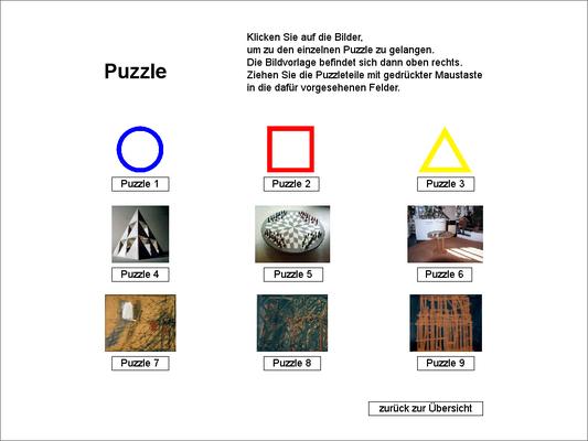 Puzzleauswahl zwischen 9 Puzzlen mit 4 - 20 Teilen