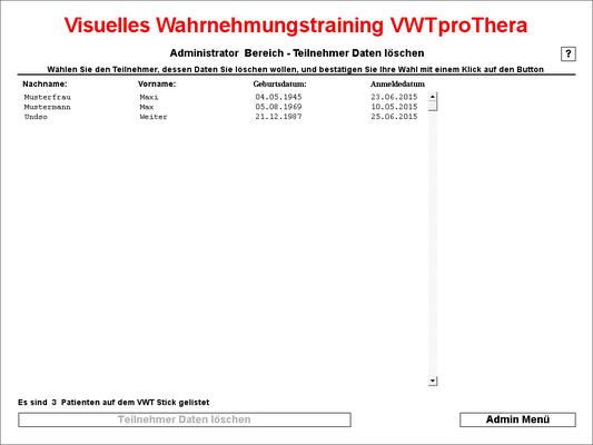 hier können Teilnehmerdaten vom VWT Stick gelöscht werden