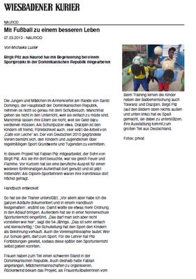"""""""Mit Fußball zu einem besseren Leben"""" - Wiesbadener Kurier - März 2013"""