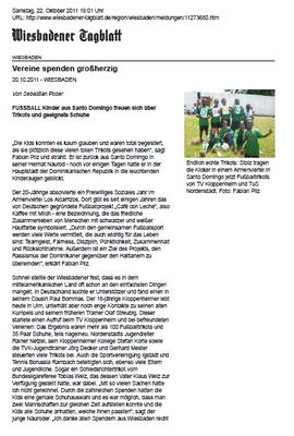 """Vereine spenden großherzig"" - Wiesbadener Tagblatt - Oktober 2011"