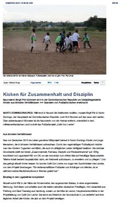 """""""Kicken für Zusammenhalt und Disziplin"""" - fupa.net - Dezember 2014"""