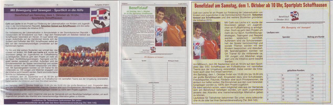 """""""Sportlich in die Hilfe"""" - Wadgasser Rundschau - September 2011"""