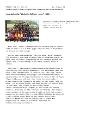"""Junge Volkshilfe: Wir helfen Café con Leche!"" - OTS - September 2011"