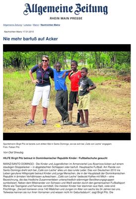 """""""Nie mehr barfuß..."""" - Allgemeine Zeitung - Januar 2015"""