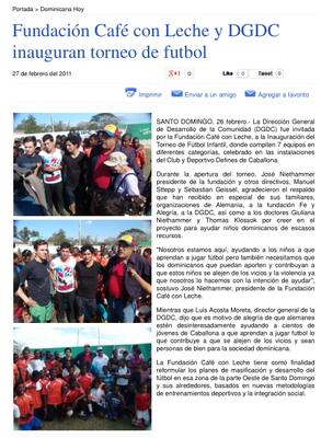 """Fundación Café con Leche y DGDC..."" - Diario Dominicano - Februar 2011"
