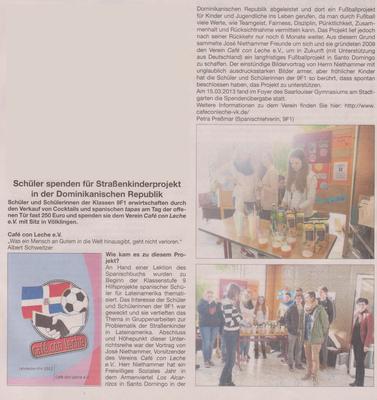 """""""Schüler spenden für Straßenkinderprojekt ..."""" - Wadgasser Rundschau - April 2013"""