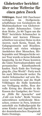 """""""Globetrotter berichtet über seine Weltreise für einen guten Zweck"""" - Saarbrücker Zeitung - April 2013"""