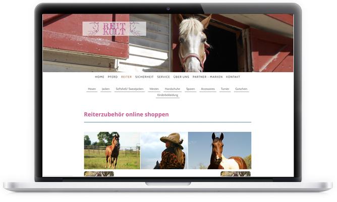 """Für """"Reitkult"""", einem Onlineshop für Pferdeliebhaber haben wir gerne die bestehende Webseite redesigned und den Onlineshop neu gestaltet."""