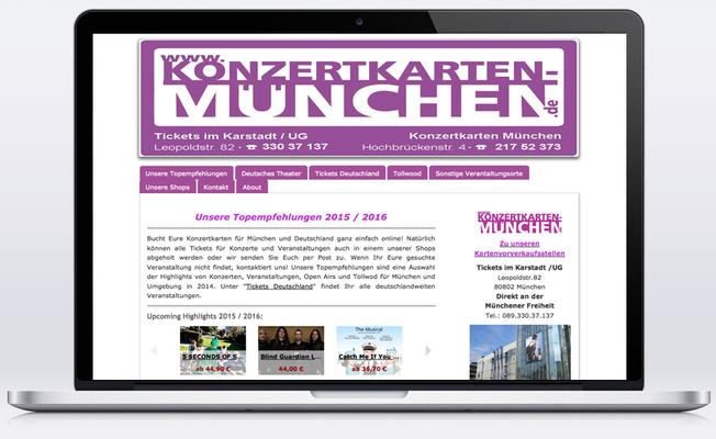 """""""Konzertkarten München"""" vertreibt über seinen e-commerce Shop Tickets für Veranstaltungen und Konzerte.  2016 folgt der Relaunch!"""