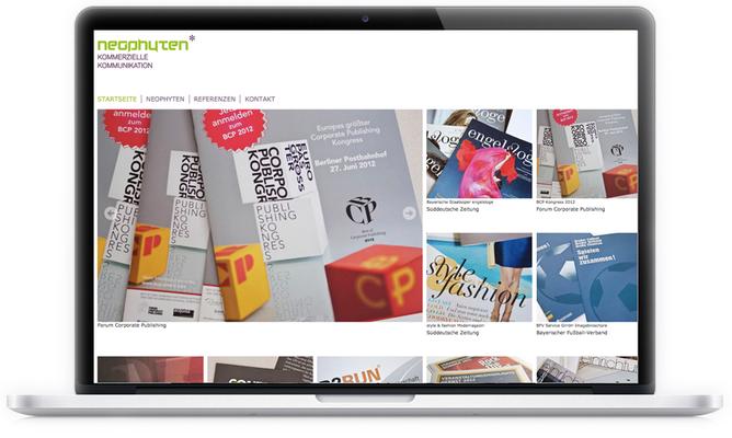 """2012 bekam die Webseite der Werbeagentur """"Neophyten"""" von uns ein neues responsive Design.  Erstellt mit Jimdo."""