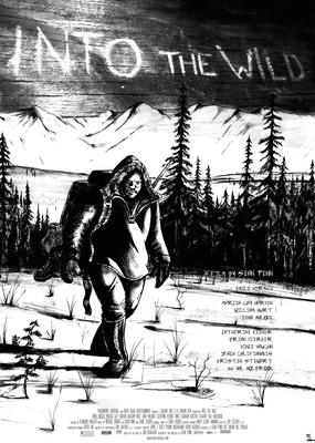 """Filmplakat """"Into the Wild"""" _Tusche Zeichnung, Hintergrund Holz - Photoshop"""