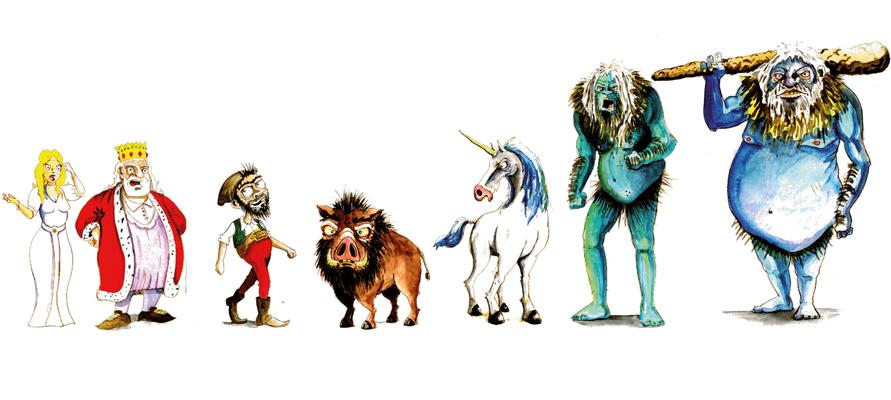 """Character Design """"das tapfere Schneiderlein"""" _Tusche + Aquarell"""