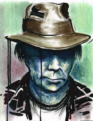 """Portrait """"Neil Young"""" _Kreide auf Papier"""