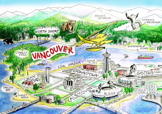 "Postkarte ""Vancouver"" _Tusche + Aquarell"