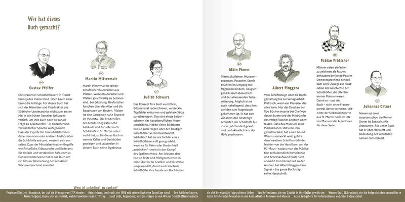 """Portraits der Autoren """"Die Schildhöfe in Passeier"""" (Schrift und Layout: design.buero) _Tusche Zeichnung"""