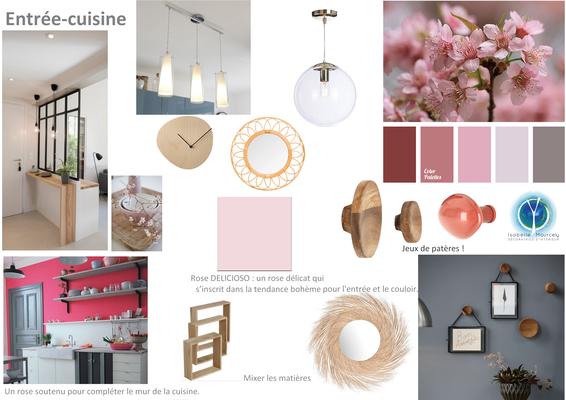 Planche tendance entrée et cuisine; sur Saumur 49, Isabelle Mourcely, décoratrice UFDI à Tours 37000 et Chinon 37500.
