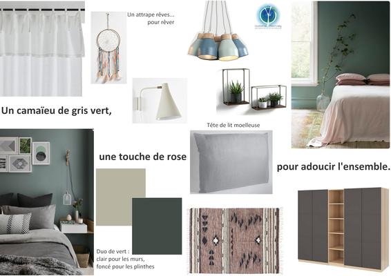 Planche tendance chambre invité;  sur Saumur 49, Isabelle Mourcely, décoratrice UFDI à Tours 37000 et Chinon 37500.