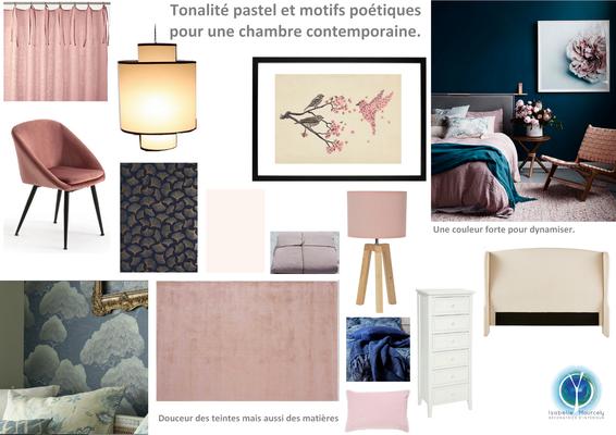 Planche tendance chambre parentale;  sur Saumur 49, Isabelle Mourcely, décoratrice UFDI à Tours 37000 et Chinon 37500.