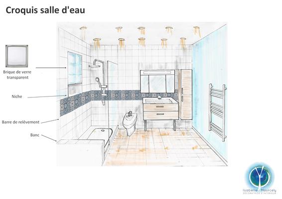 Perspective douche, Marcilly sur Vienne,  Isabelle Mourcely Décoration, décoratrice UFDI Tours Chinon Centre Indre et Loire 37