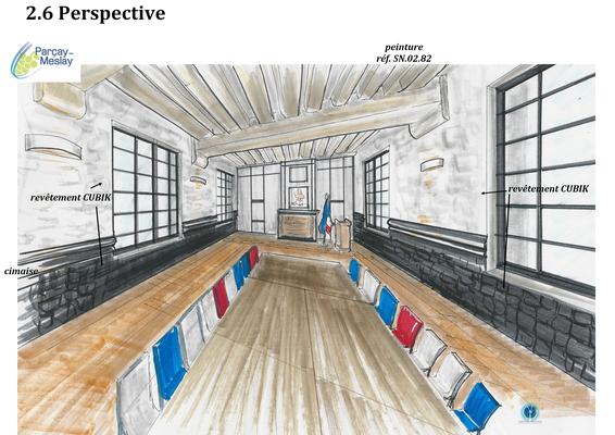 perspective salle de réunion tour de portes boiseries anthracite, Azay sur Cher 37,   Isabelle Mourcely, décoratrice UFDI à Tours 37000 et Chinon 37500.