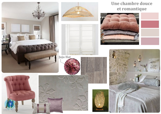planche tendance chambre cosy, 37190 NEUIL, Isabelle Mourcely décoratrice UFDI Tours 37000 et Chinon 37500