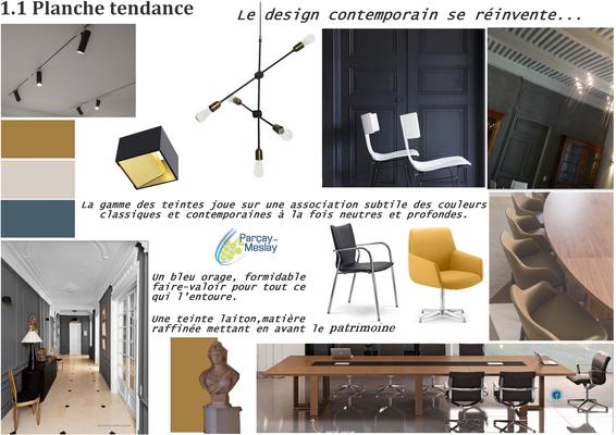 planche tendance salle de réunion, Azay sur Cher 37,   Isabelle Mourcely, décoratrice UFDI à Tours 37000 et Chinon 37500.