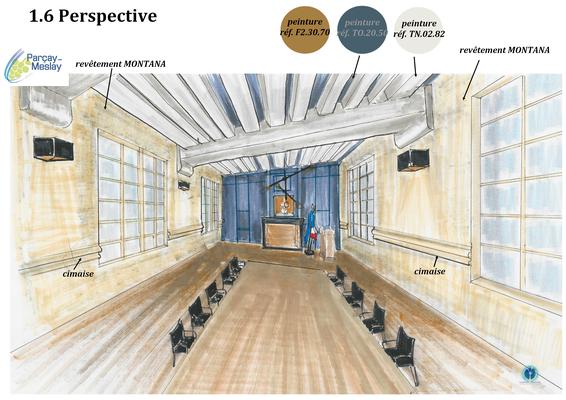 perspective salle de réunion, boiserie bleu profond, Azay sur Cher 37,   Isabelle Mourcely, décoratrice UFDI à Tours 37000 et Chinon 37500.