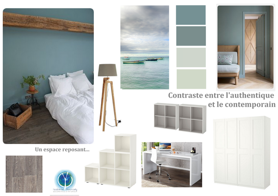 planche tendance chambre bleue, 37190 NEUIL, Isabelle Mourcely décoratrice UFDI Tours 37000 et Chinon 37500