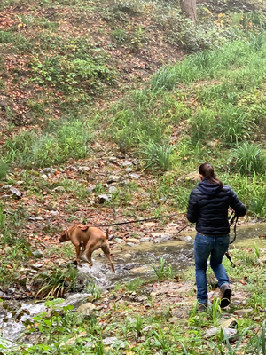 Nia beim Überqueren des Flusses