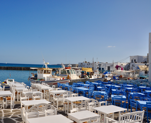 Paros Naoussa Restaurants am Meer