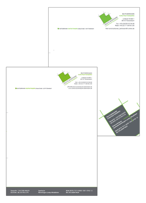 Briefpapiervarianten des Konstruktionsbüros Beate Berkmann.