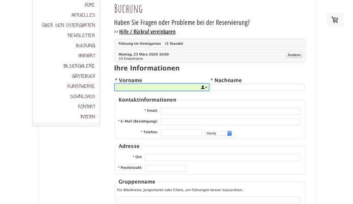 Datenmaske für Buchung und Kontaktinformationen