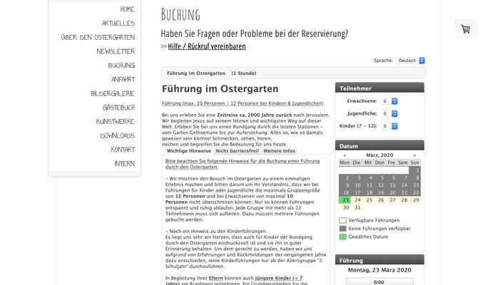 Startseite des Buchungsportals mit wichtigen Hinweisen und Kalender