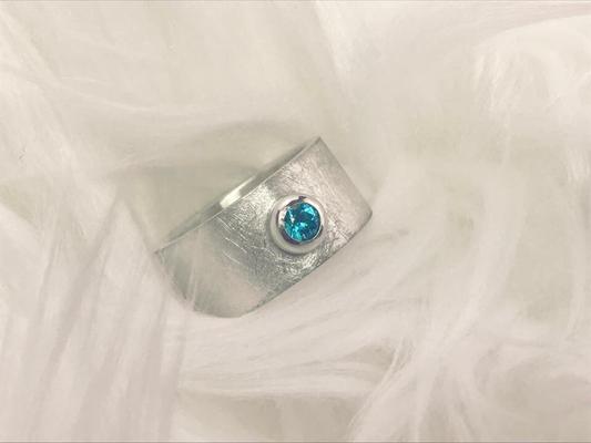 Zilveren ring met turquoise zirconia