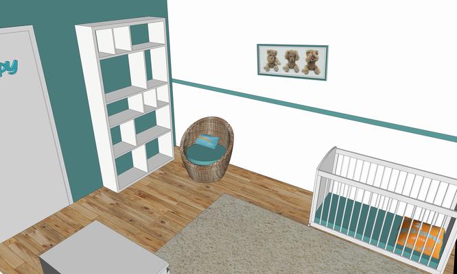 Rénovation d'une maison en pierre. Projet 3D pour la chambre d'enfants. Bleu, blanc, bois clair et textiles chaleureux.