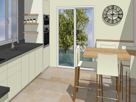 Cuisine Projet 3D. Façades en laque blanc lin, plan et crédence en granit noir flammé, table haute en chêne clair, chaises en cuir, fenêtre sur jardin.