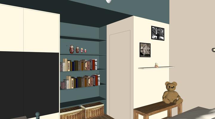 Projet 3D. Chambre de jeune fille en bleu et blanc avec mise en valeurs des volumes atypiques et conception de rangements sur mesure.