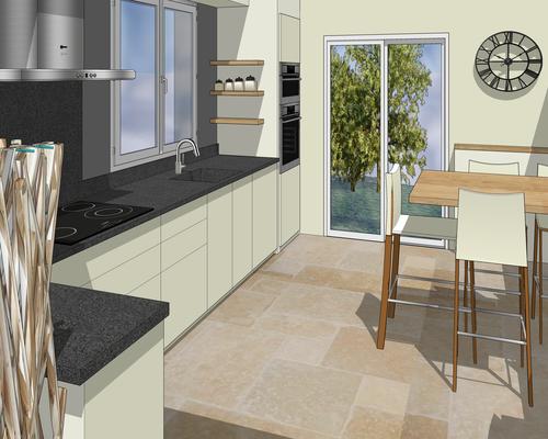 Cuisine projet 3D. Façades en laque blanc lin, plan et crédence en granit noir flammé, hotte en inox brossé, fenêtre sur jardin.