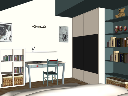 Projet 3D : chambre de jeune fille en bleu et blanc. Ici se côtoient rangement sur mesure et meubles chinés et relookés pour un ensemble éclectique.