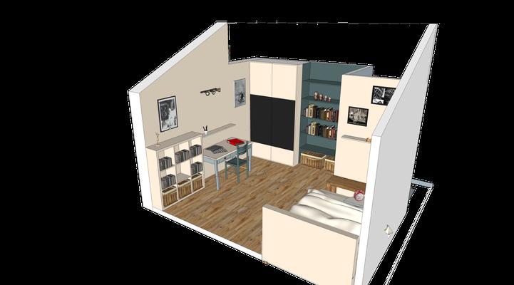 Projet 3D . Vue d'ensemble d'une chambre de jeune fille en bleu et blanc. parquet en chêne blanchi, rangements sur mesure et mobilier chiné.