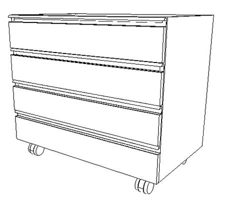 Meuble mobile sous paillasse tiroirs