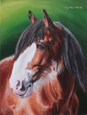 """Clydesdale """"Charly"""", Acryl auf Leinwand, 40x30, 2014, Pferdemalerei von Hanna Stemke, www.hufspuren.com"""