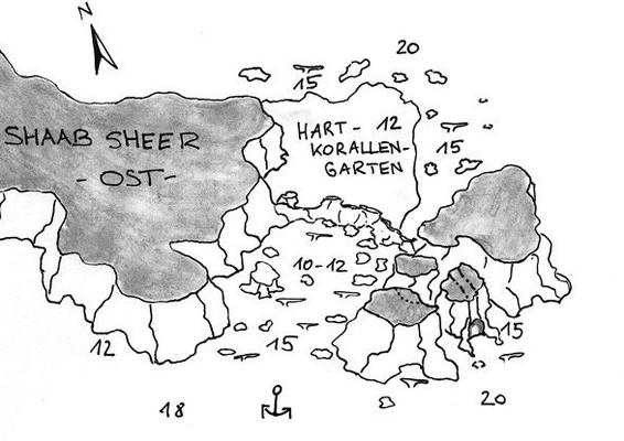 Shab Shear Ost, Korallengarten, Wrack, wettergeschützter Tauchplatz,