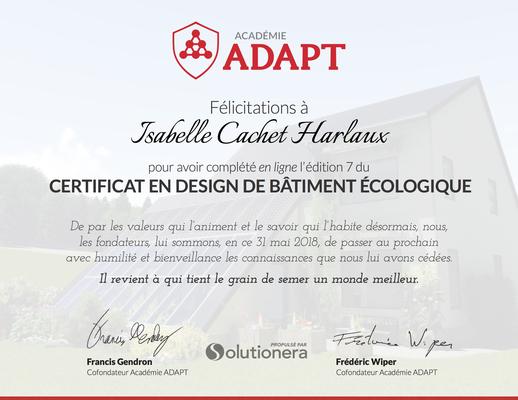 Certificat en design de bâtiment écologique