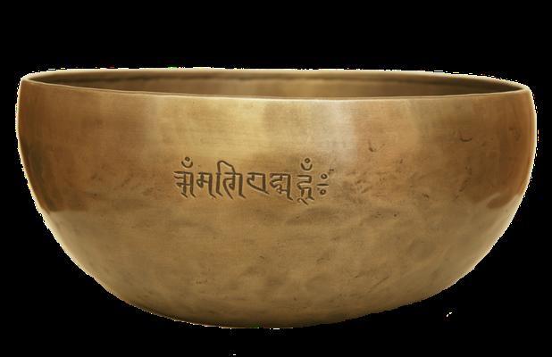 Klangschale mit dem Mantra: Im Sanskrit, bzw. im Devanagari (nepali) wird das Mantra OM MANI PADME HUM ausgesprochen