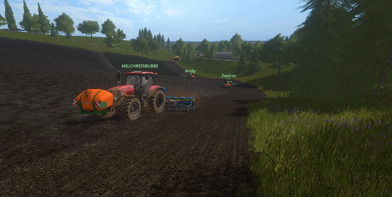 Zu dritt sind auch große Felder schnell bestellt.