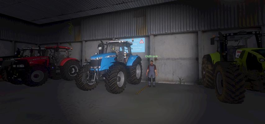 Nie wieder Parkplatzsorgen - Der stolze Besitzer eines Privatstellplatzes neben seinem abgestellten Traktor.
