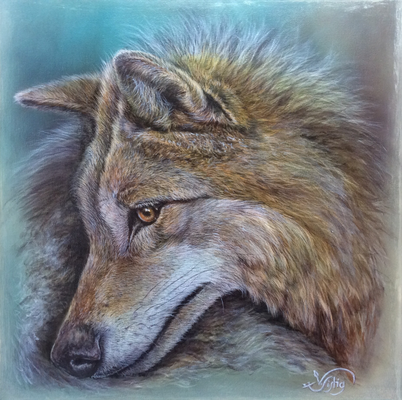 Kurti MT6 Wolf Wildtier Tierportrait Acrylbild Illustration