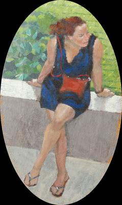 """Mehrzad Najand - peinture acrylique  sur toile ovale -  """"  Pose Provençale """" -12cm x 20cm - 2016"""