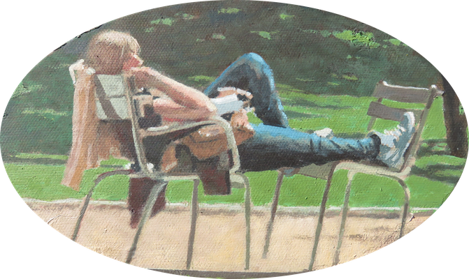"""Mehrzad Najand - peinture acrylique sur toile ovale -"""" Jardin du Luxenbourg"""" -   20cm x 12cm - 2016"""